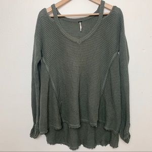 FREE PEOPLE M army green oversized sweater C